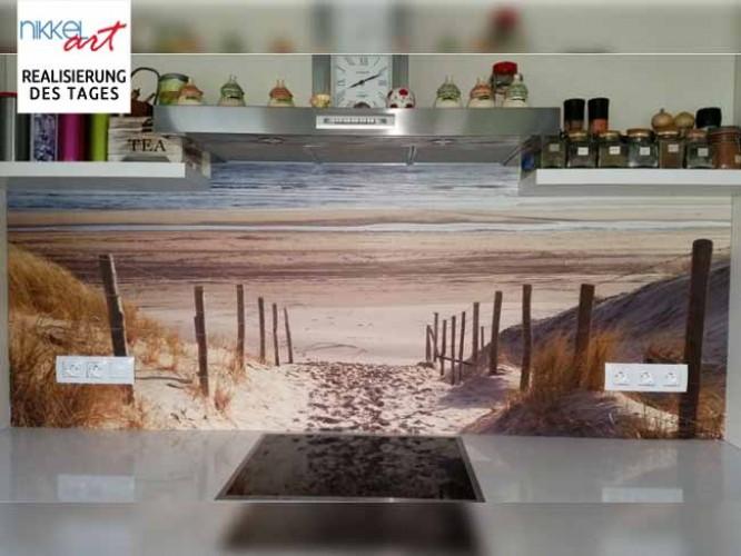 Küchenrückwand foto glas Nordsee Strand auf Langeoog