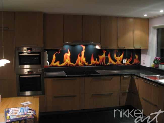 Küchenrückwand aus Glas mit Foto Flammen