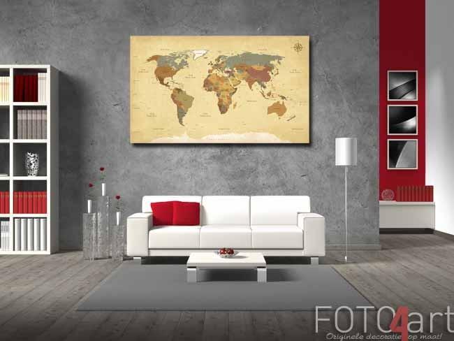 Foto op Canvas wereldkaart
